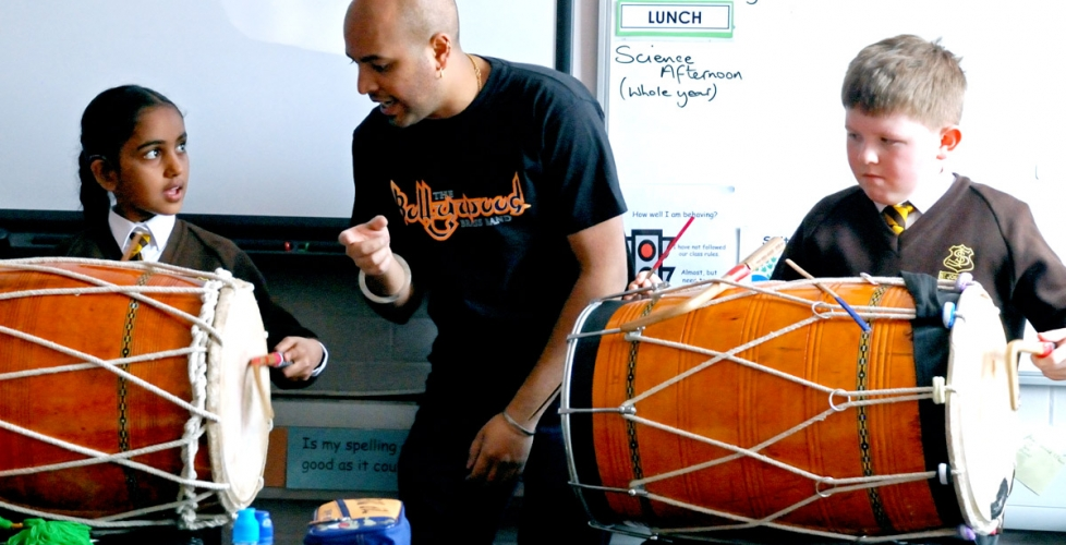 Bollywood Brass Band workshop at Tallis